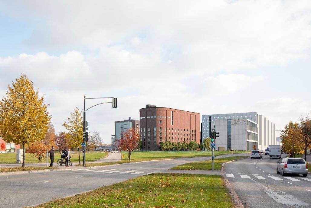 Arcadahallen 3D-kuva opiskelija-asunnoista ja urheiluhallista Helsingin Arabianrannassa