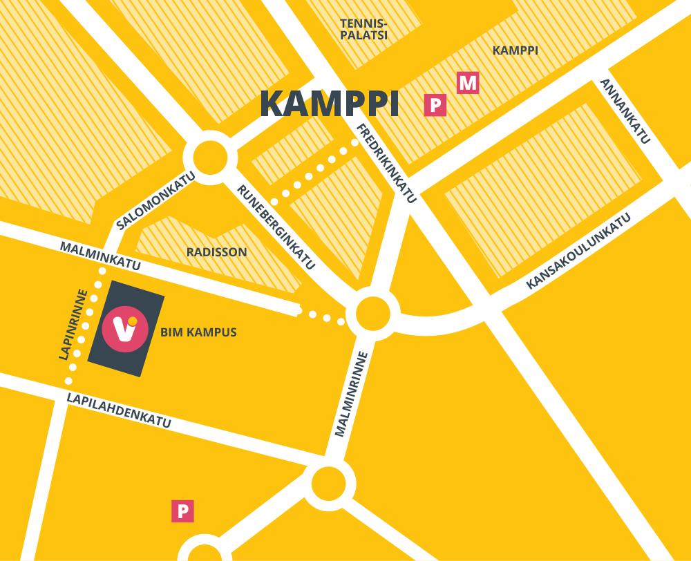 Kartta BIM Kampuksen sijainnista Helsingin Kampissa