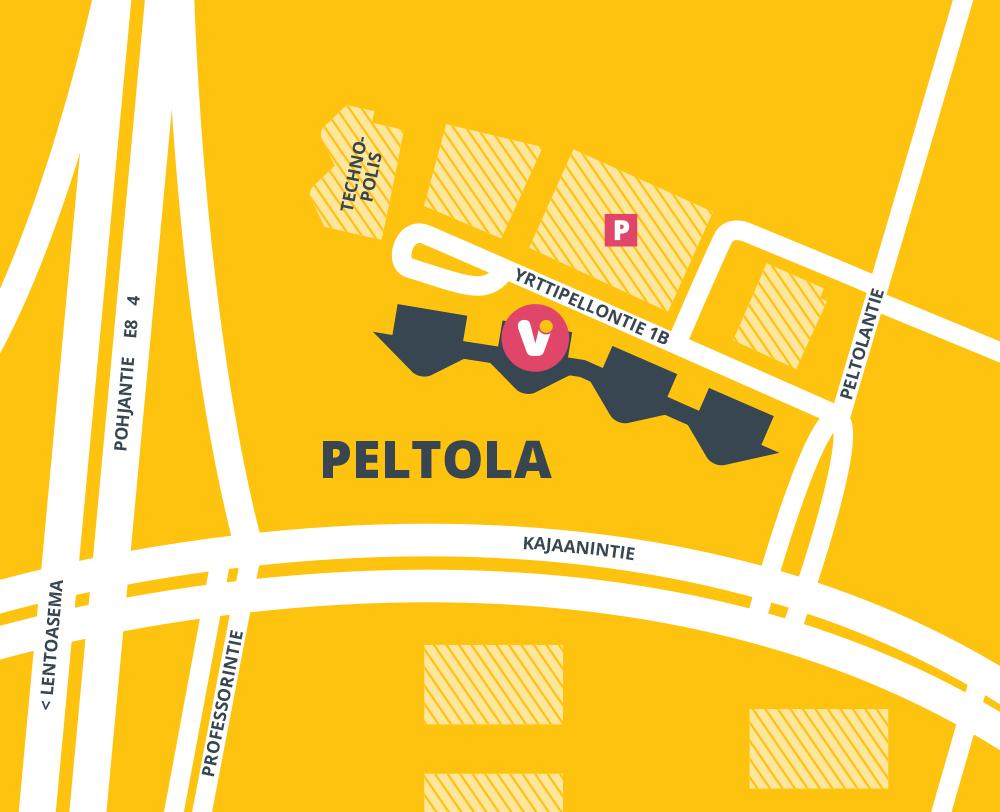 Kartta Visonin sijainnista Oulun Peltolassa